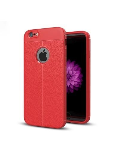 Microsonic Apple iPhone 6S Plus Kılıf Deri Dokulu Silikon Kırmızı Kırmızı
